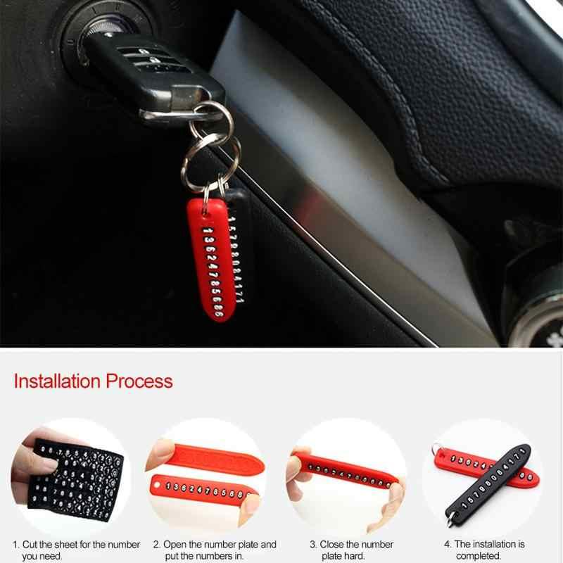 Anti-perdido número de telefone placa chave tag para cartão telefone pingente chaveiro chaveiro carro auto veículo decoração interior acessórios