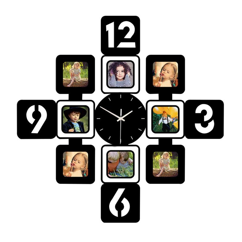 1 Pc Wall Clock With Photo Frames Creative Wooden Modern Decorative Silent Decor Hanging Clocks For Cafe Home Bedroom