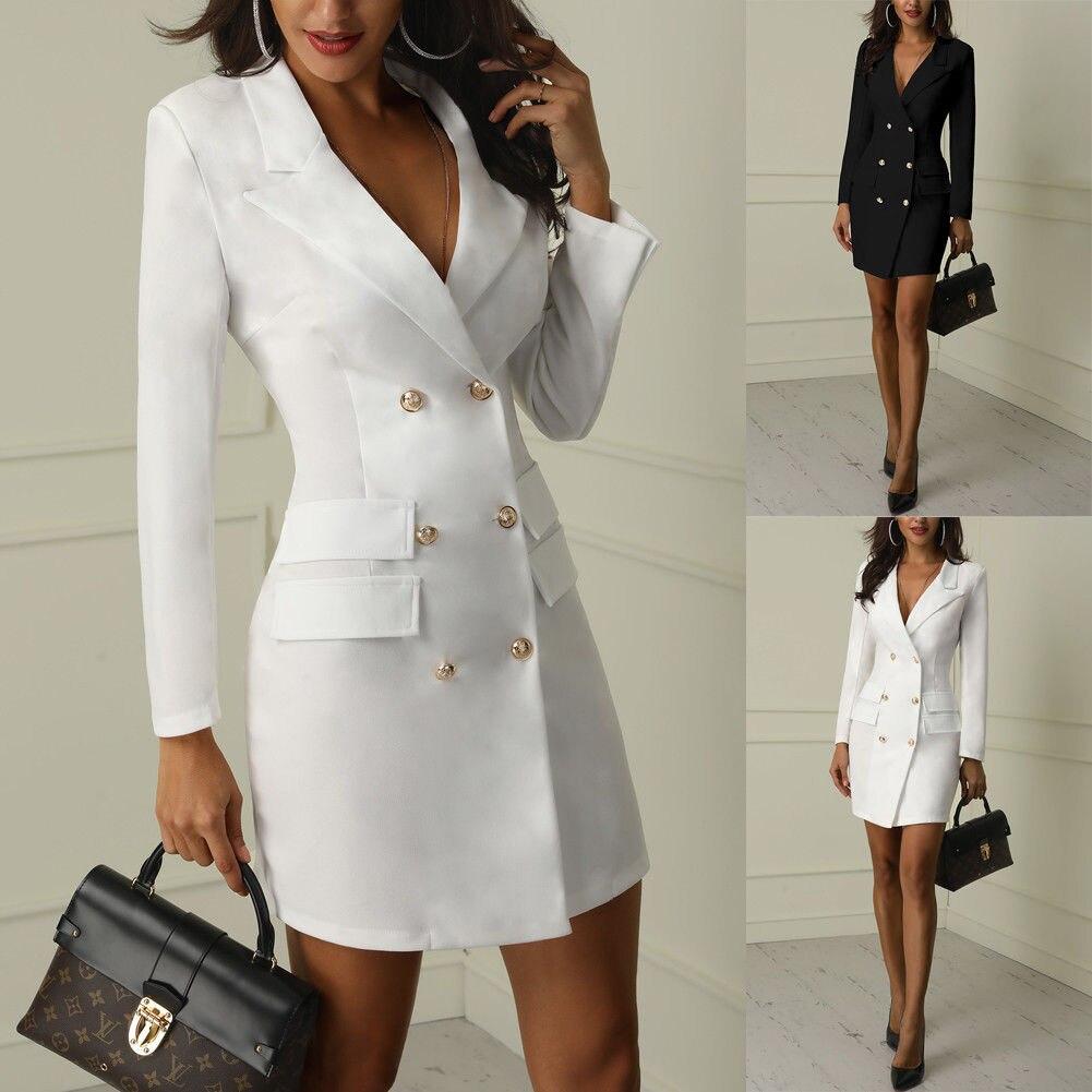 Automne hiver costume Blazer femmes 2019 décontracté Double boutonnage poche femmes longues vestes élégant à manches longues Blazer extérieur