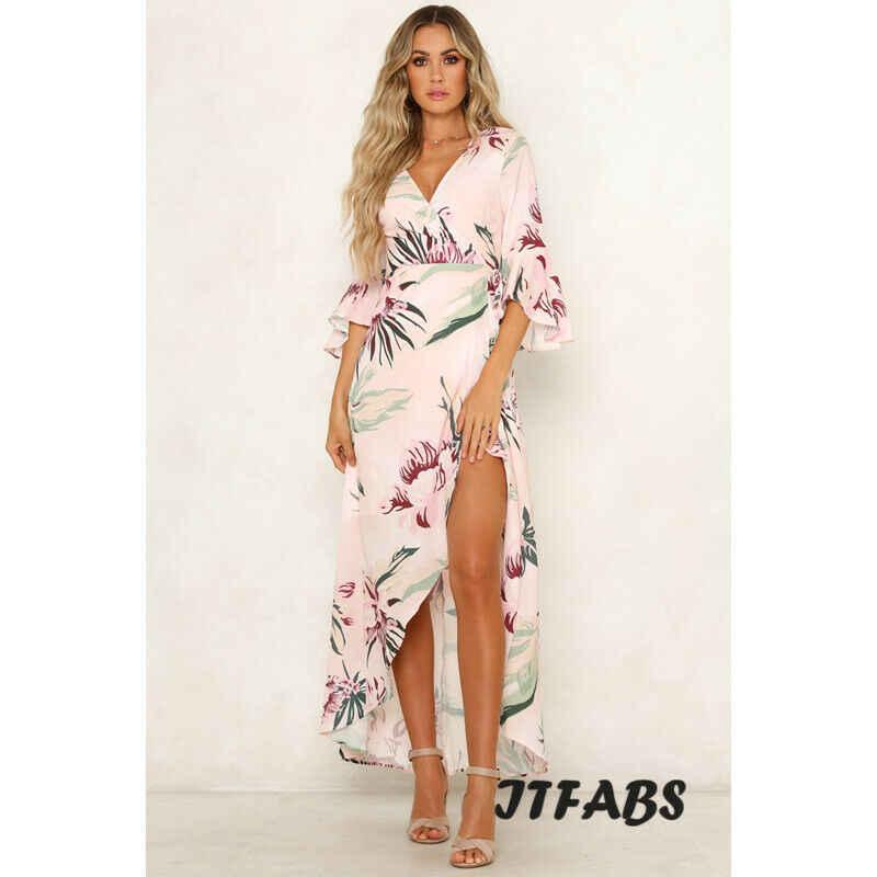 2019 nouvelle mode femmes taille haute Boho fleur imprimer profonde col en v robe volant manches soirée longue Maxi robe