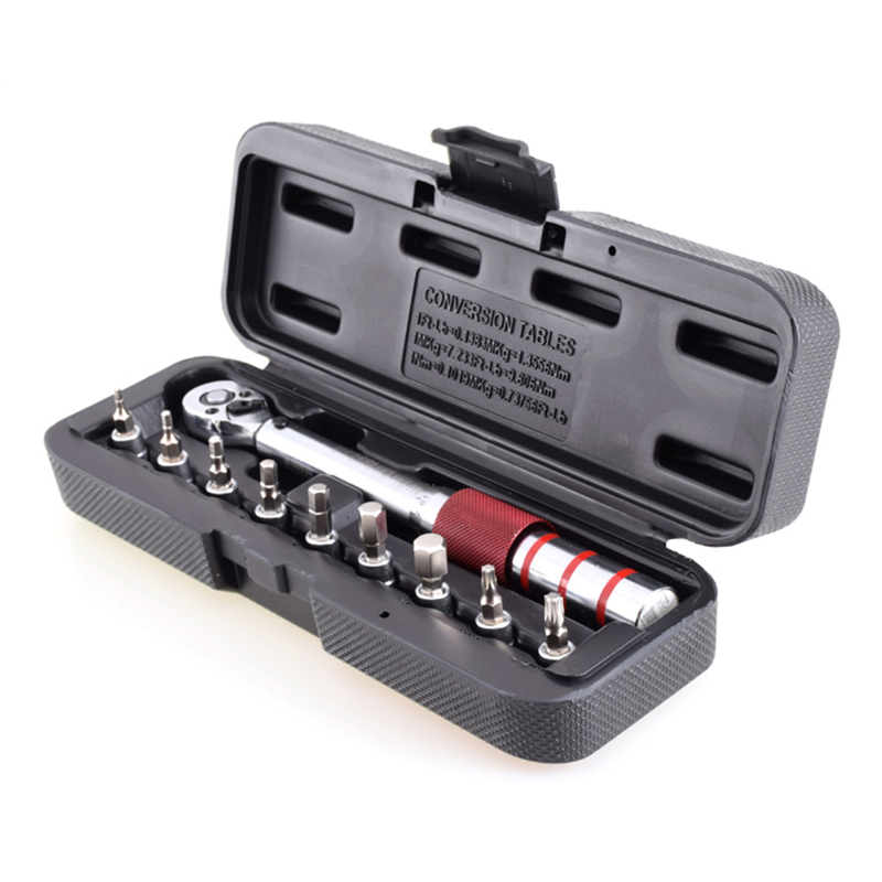 1/4 pouces Dr 2-15Nm Mini Kit d'outils de vélo à main réglable en carbone de route avec clé dynamométrique Pro préréglée ensemble de bits hexagonaux