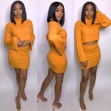 Сексуальный комплект из двух частей мини-юбка наряды укороченный топ с расклешенными рукавами Платья-свитеры Для женщин костюм ребра зима оранжевый пиджак трикотажные шт