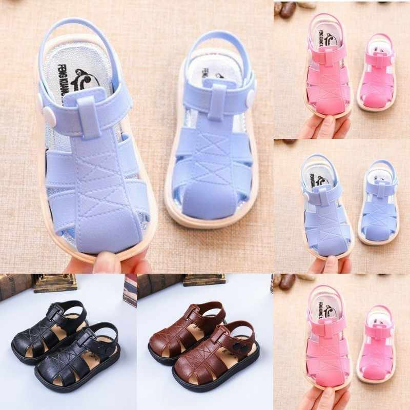 Boys'Sandals Summer New Girls' Sandals Children's Beach Shoes Babies'Skid-proof Soft-soled Head-lacquered Leather Shoes