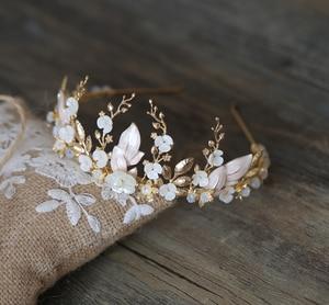 Image 3 - 手作りゴールドブライダル冠花の葉ウェディングヘアアクセサリーティアララインストーンヘッドパーティージュエリー