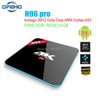 H96 PRO TV BOX Android 7.1 os 3 GB S912 32 GB Amlogic Octa Core 2.4/5G WI-FI set Top box 1000 M LAN Bluetooth4.0 Home Media Player