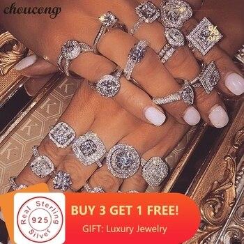 5349e3d0ff20 Choucong 40 estilos 100% Real 925 plata esterlina anillo de promesa AAAAA  cz compromiso boda banda anillos para las mujeres los hombres fiesta joyería