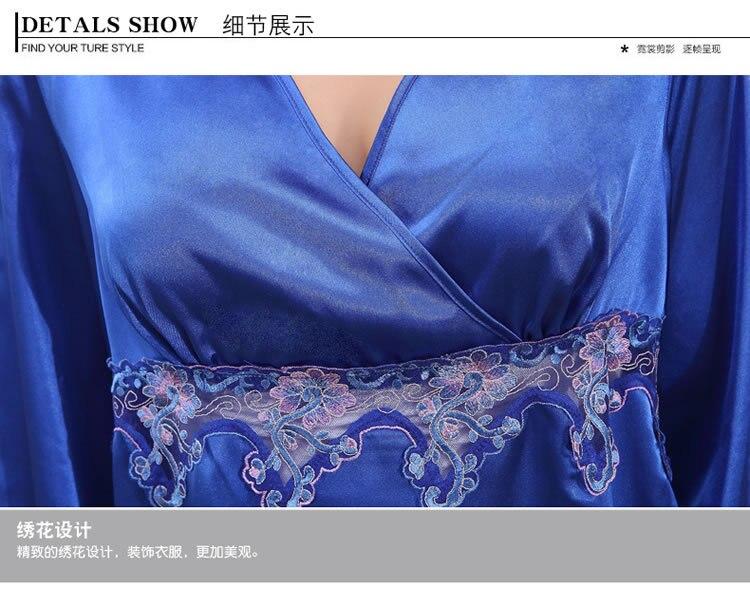 2019 New Elegant Luxury Silk Pajamas For Women Solid Embroidery pyjamas women Lounge Pajama Sets V neck Silk Satin Pijama in Pajama Sets from Underwear Sleepwears
