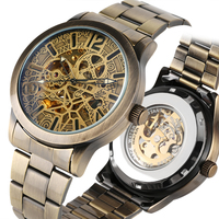 Bronze Tone Mechanical Watch Automatic-self-winding Skeleton Mechanical Watches Stainless Steel Band Business Style Clock reloj