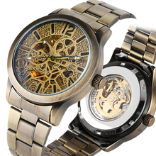 Bronze Tone Mechanical Watch Automatic-self-winding Skeleton Mechanical Watches Stainless Steel Band Business Style Clock reloj bosck mechanical watches men skeleton gold watch automatic mechanical mens watches waterproof self winding clock stainless steel