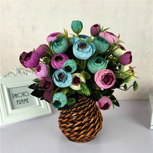 Six forks and nine heads of European autumn Camellia bracts, spun flowers silk mixed batches for home decoration