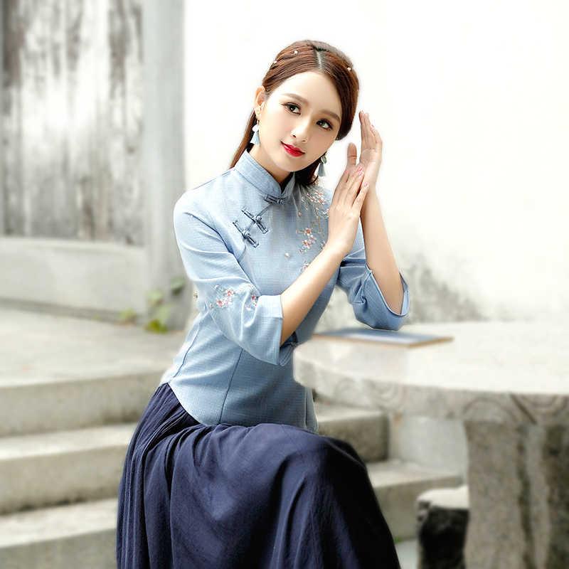 Chinois Топы Camisa китайский женский костюм Cheongsam блузка Vetement чайный костюм-платье традиционная китайская одежда женская рубашка Qipao