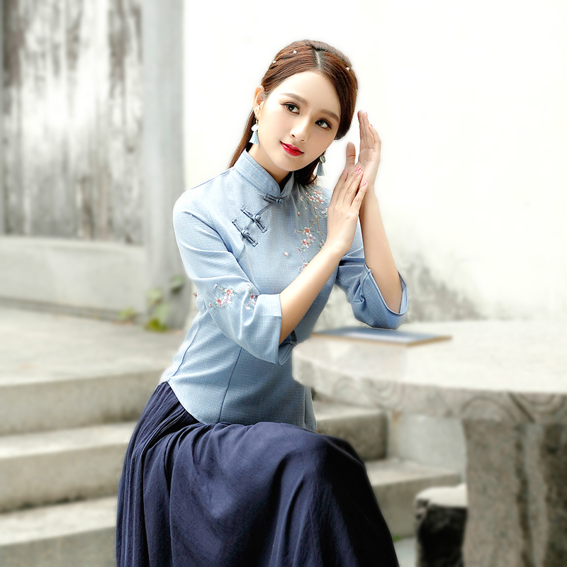 Chinois Tops Camisa China Mujer Costume Cheongsam Blouse Vetement Tea Suit-dress Traditional Chinese Clothing Women Shirt Qipao