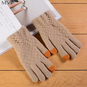 Women Fashion Wool Knitted Gloves Warm Winter Casual Wrist Touch Solid Screen Mittens