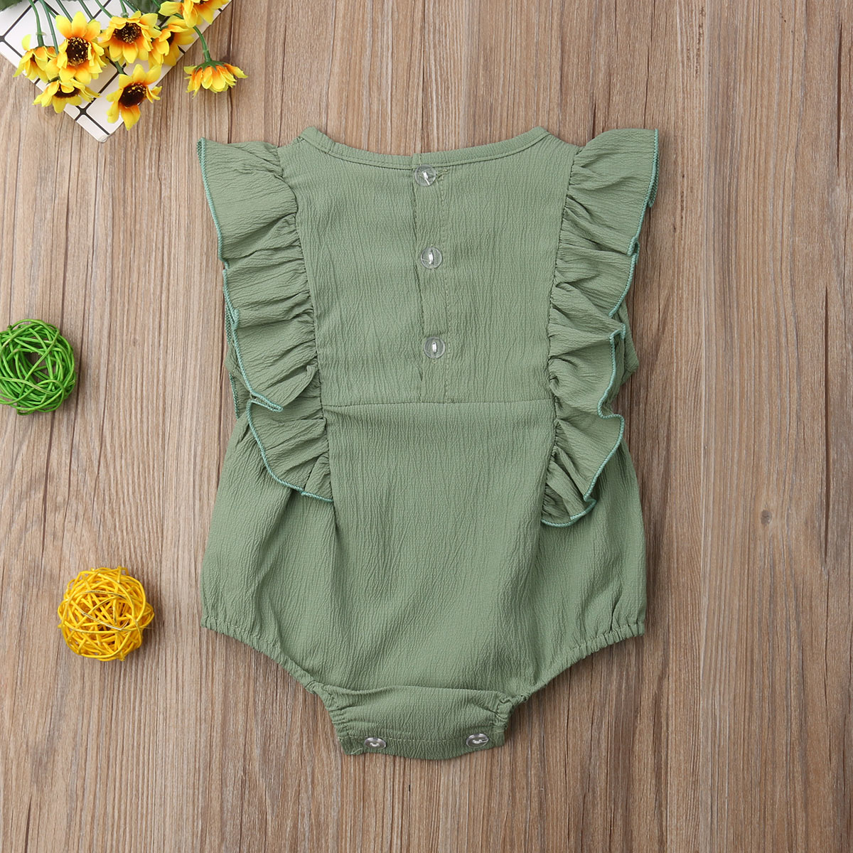 2019 Baby Girl summer clothing Amy green Ruffle flower Romper Jumpsuit Outfits for Kid clothes Children newborn infant 0 24M in Rompers from Mother Kids