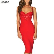 Xnxee 2019 Fashion Women Sexy Summer Bandage Dress Deep V Lace Hollow Out Spaghetti Strap Party Club Dresses Knee Length