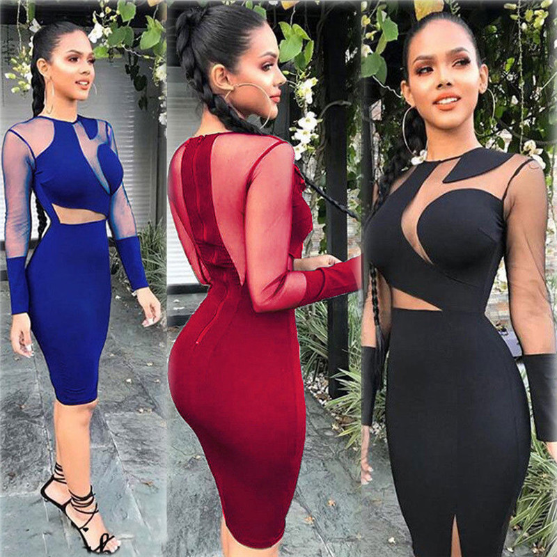 <font><b>Sexy</b></font> Women Lady Bandage Bodycon Evening Party Club Short Mini <font><b>Dress</b></font> Mesh Patchwork Club <font><b>Dresses</b></font> Pencil <font><b>Dress</b></font> Black Wine <font><b>Red</b></font> image
