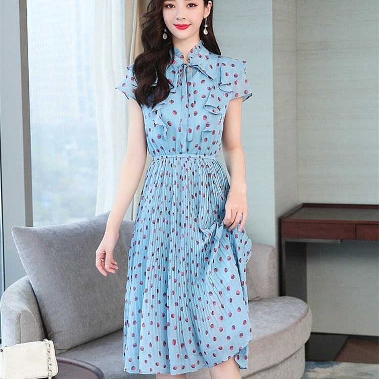New Fashion Women Ruffles Short Sleeve Chiffon Dress Summer Pleated Vintage Polka Dot Print Blue Dress