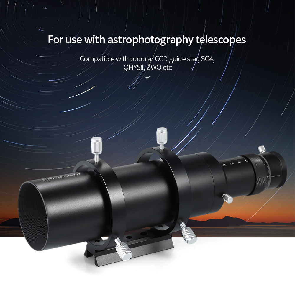 60mm Guide Scope Finderscope for Astronomical Telescope 240mm Focal Length F4 Focal Ratio Guidescope with Helical