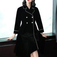 Long windbreaker New England fashion 3/4 sleeve double breasted coat black over coat dress trench velvet outwear women L 5XL