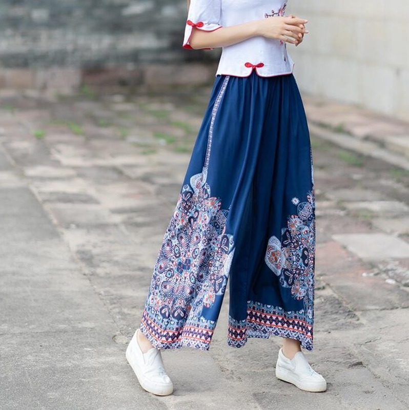 0424 Summer High Waist Vintage Wide Leg Pants For Women Oversize Loose Thin Retro Side Stripe Floral Printed Indie Folk Blue in Pants amp Capris from Women 39 s Clothing