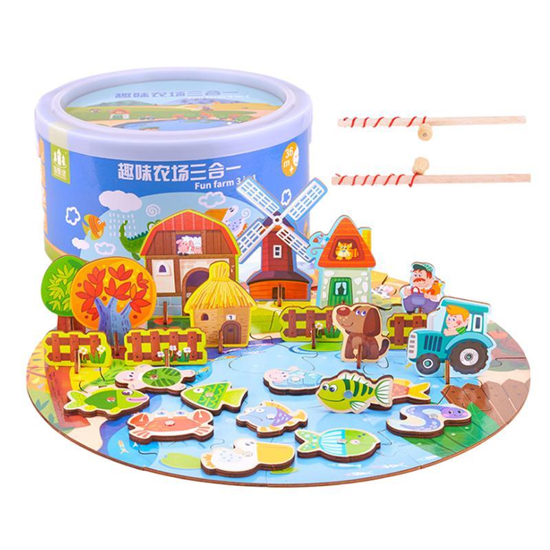 1 Set Van Houten Ouder-kind Farm Patroon Educatief Magnetische Vissen Speelgoed Accessoire Playthings Voor Peuters Kinderen Kids Bloedcirculatie Activeren En Pezen En Botten Versterken