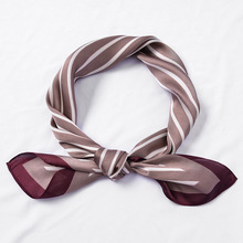 LEAYH 70*70cm Fashion Stewardess Striped Small Bandanas Simple and Chic Imitation Silk Square Scarf Neckerchief