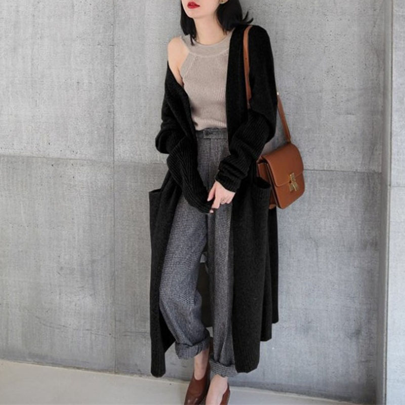 Women Coat Open Front Cardigan Casual Knitted Maxi Sweater Long Knitwear Loose Elegant Sweater Solid Color Fashion New Coat