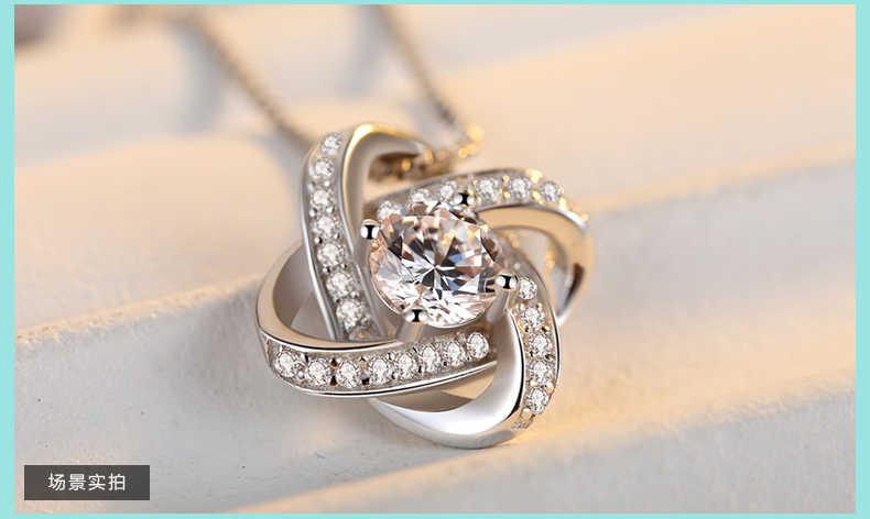 925 ze srebra wysokiej próby z cyrkonią kwiat koniczyny naszyjniki dla kobiet wysokiej jakości srebro-biżuteria