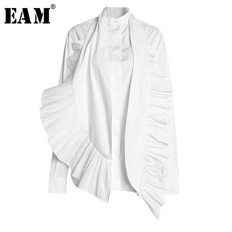 [EAM] 2020 New Spring Autumn Stand Collar Long Sleeve White Pleated Spliced Loose Two Piece Shirt Women Blouse Fashion JR839