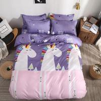 Cartoon Unicorn Bedding Set 4pcs Cute Bedding For Girls Double Bed Linen Set With Sheet Pillowcase Comfortable Family Bedding