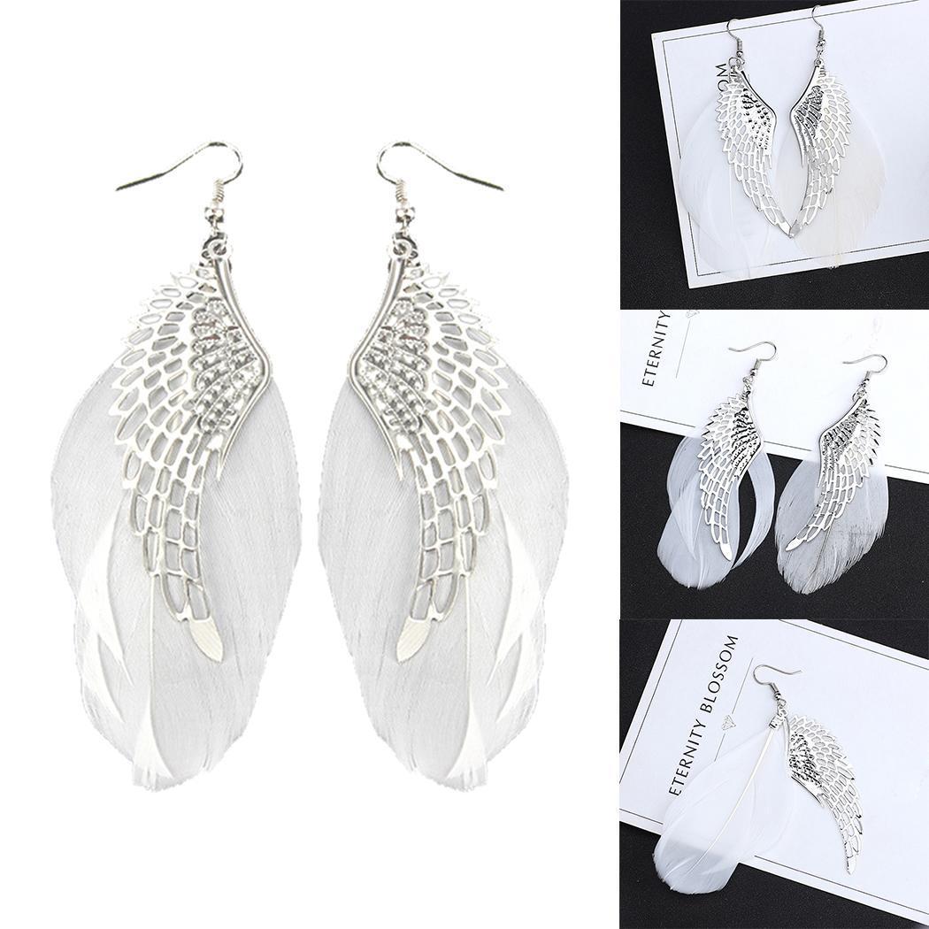784010a913661 9cm Feather Hollow Hook Shape Silver Earrings Fashion Women 11cm 3inch Wing  Drop Casual 3 Pierced 4 5inch