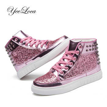 Women High Top Sneakers Sequins Rivet Lurex Glitter High-Cut Round Toe Lace-Up Shoes Outdoor Skateboard Shiny Flat Sneakers 2019 - DISCOUNT ITEM  40% OFF All Category