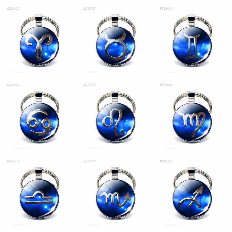 12 ювелирные изделия с созвездиями Leo Virgo Libra Scorpio Зодиак СТРЕЛЕЦ знак брелок стеклянный подвесной брелок Брелоки