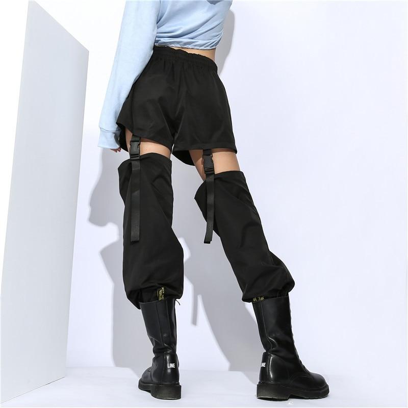 Black High Waist Patchwork Hip hop Pants Women Fashion Hollow Out Adjustable Buckle Pencil Trousers Women Running Sport Pants in Running Pants from Sports Entertainment