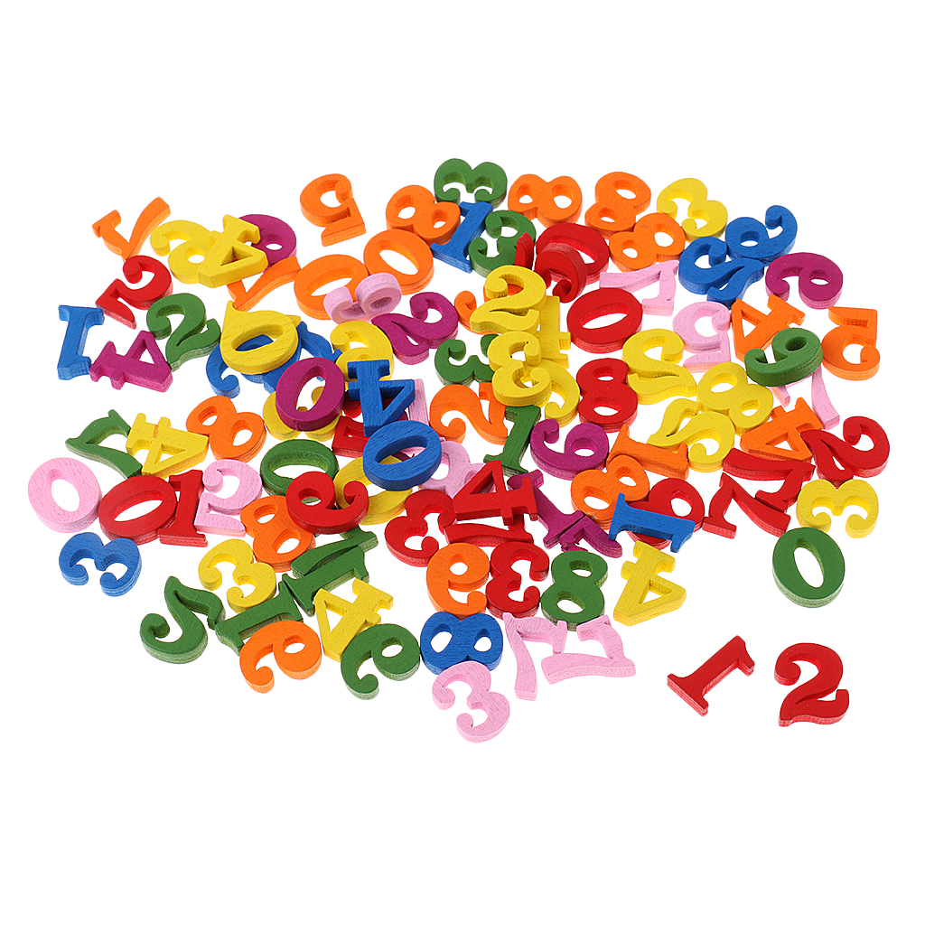 MagiDeal Colorful 100 Pieces Wooden Numbers For Children Kids Math Learning Educational Toys Kindergarten School Teaching Tool