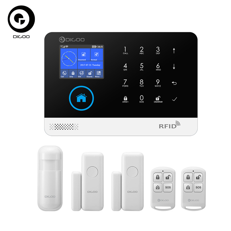 Digoo DG-HOSA 433MHz Wireless GSM&WIFI DIY Smart Home Security Alarm Systems Kits Infrared Motion Sensor Door Magnetism Alert