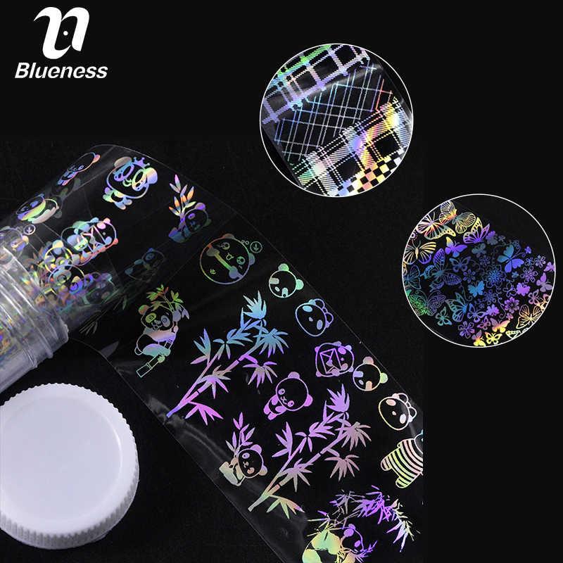 Blueness 4*100 см лазерные наклейки на ногти из фольги 10 типов панда бабочка бамбук дизайн голографическая Звездная DIY наклейки для ногтей