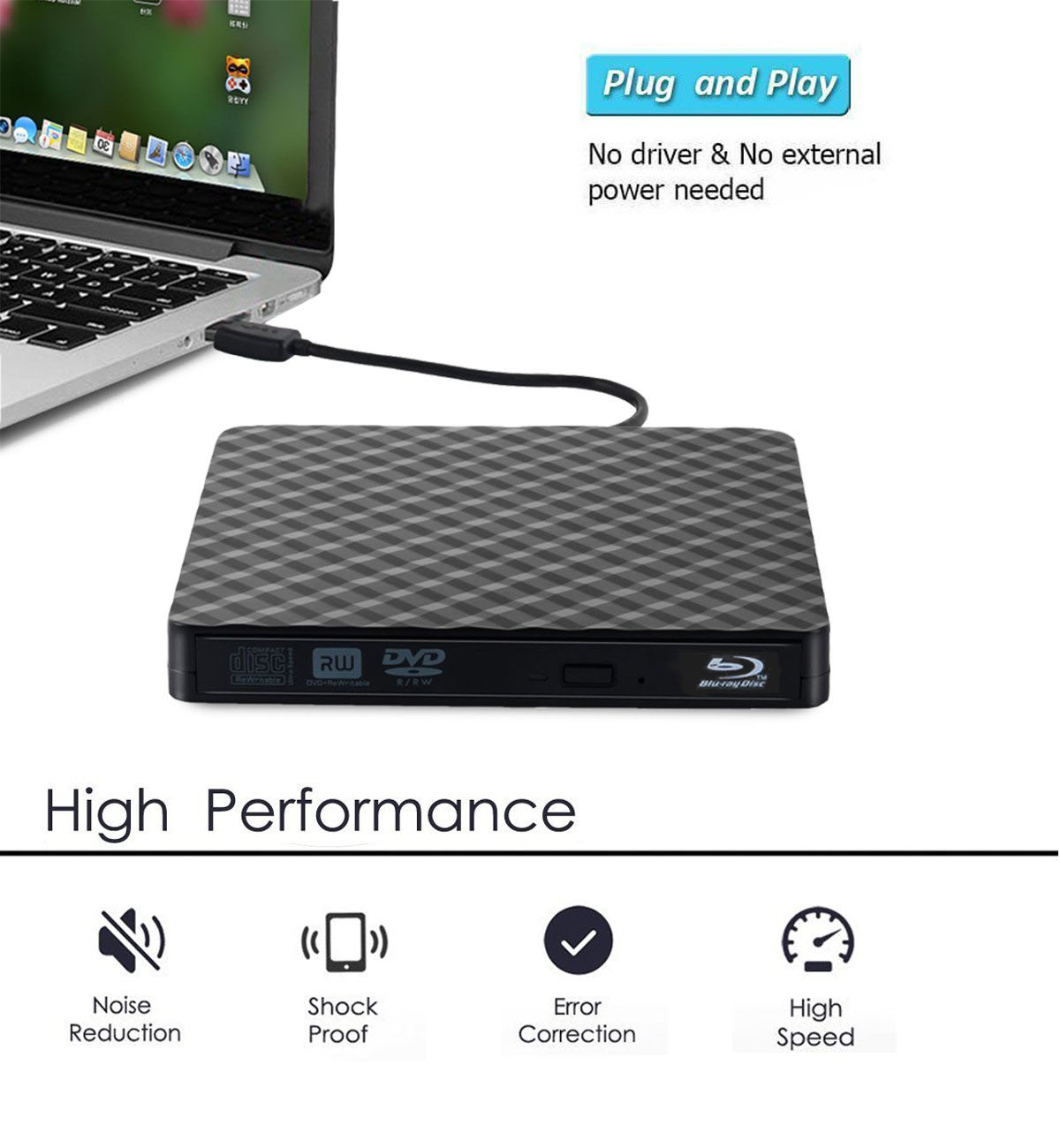Super Slim External USB 3 0 CD DVD burner Drive and Blu ray disc CD DVD player For Apple Macbook iMac Mac Mini PC Optical Drive in Optical Drives from Computer Office