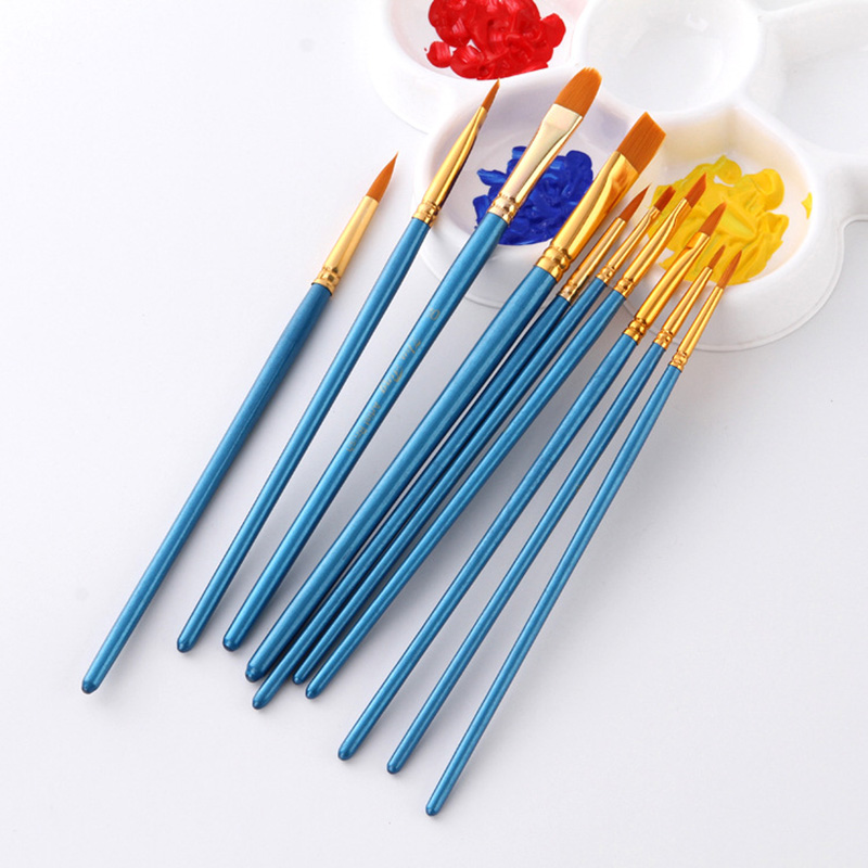 10Pcs/set Nylon Artist Paint Brush Professional Watercolor Acrylic  5