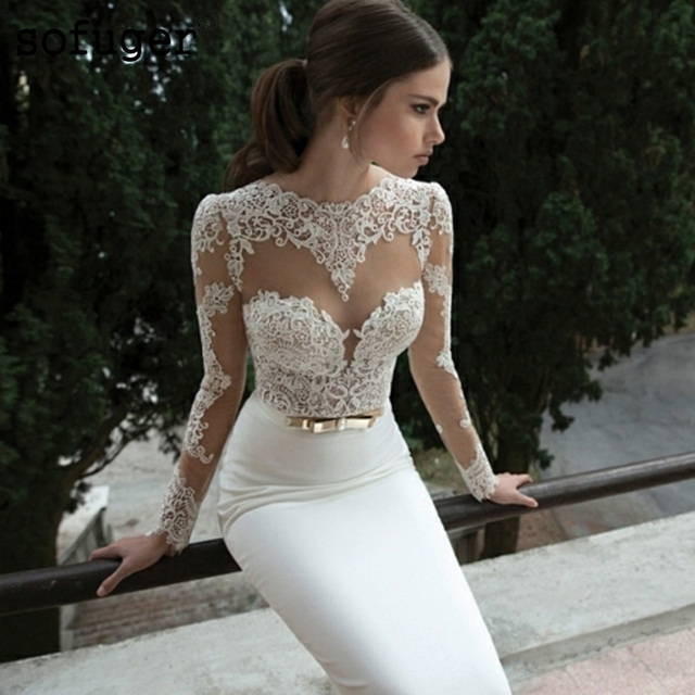 Sexy White Mermaid Wedding Dresses Satin Bridal Gowns Long Sleeve Sheer Lace Vestidos De Noiva With Golden Belt