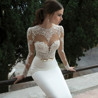 2019 Elegant Sexy White Mermaid Wedding Dresses Satin Bridal Gowns Long Sleeve Sheer Lace Vestidos De Noiva With Golden Belt