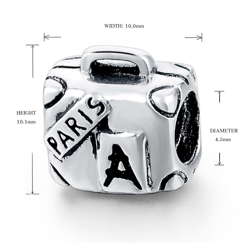925 Sterling sølv Paris kuffert Pandora perler Charm Fit Pandora - Mode smykker - Foto 4