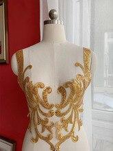 купить Baroque Embroidered Sequined Lace Flower Piece Wedding Dress Dance Performance Model Show Clothing Sewing Accessories Applique по цене 430.95 рублей