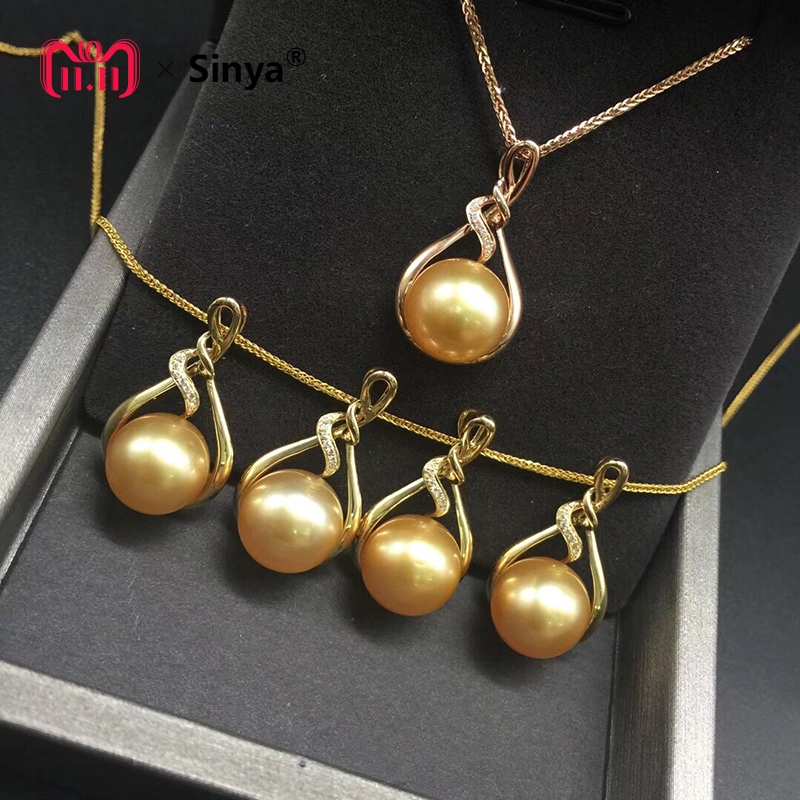 Sinya 18K Gold Real diamond pendant with southsea gold pearl fine necklace choker include au750 gold chains high quality sinya real diamond southsea golden pearl pendant 18k gold necklace choker include au750 gold chains for women mum girls gift