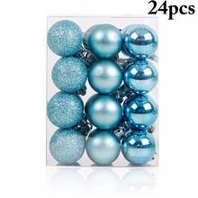 24 шт Горячие Рождественские елочные украшения синий Рождественский шар пластиковый подарочный шар для рождественского праздника украшения Висячие украшения