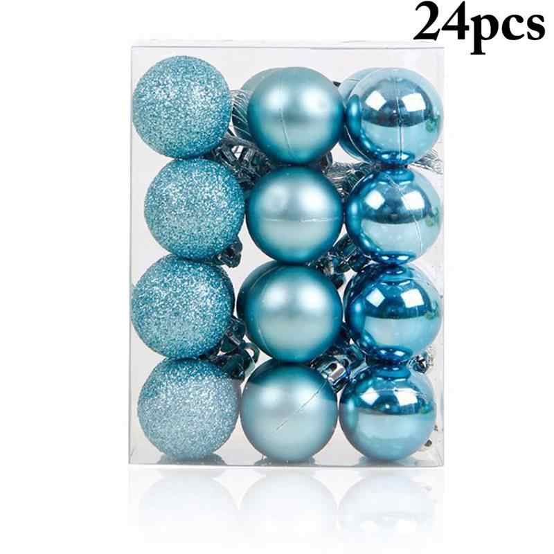 24PCS Hot Christmas Tree Ornaments Blue Christmas Ball Plastic Gift Ball For Xmas Holiday Decoration Hanging Ornaments