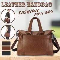2019 Luxury Brand Men Leather Handbag 100% Genuine Leather Casual Tote Bags Male Big Shoulder Bags