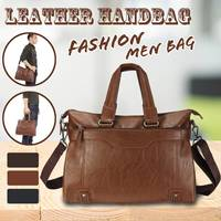 2019 Luxury Brand Men Leather Handbag 100% Genuine Leather Casual Tote Bags Male Big Shoulder Bags
