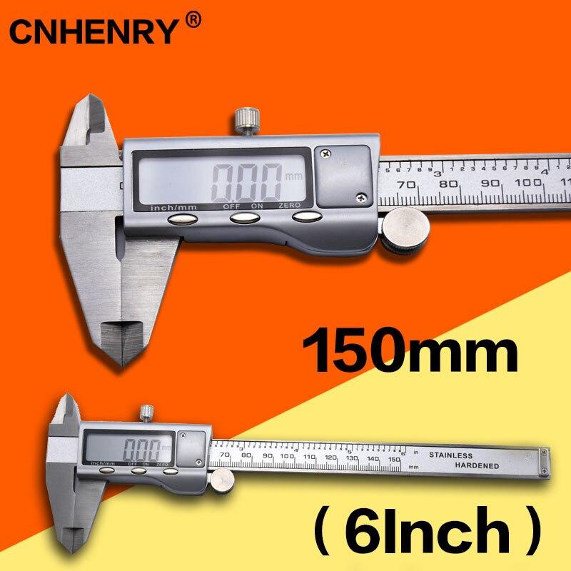 Digital de Aço Ferramenta de Medição Digital de 150 Vernier Paquímetro Milímetros Inoxidável Levou Eletrônico Precisa Micrômetro 6-polegada