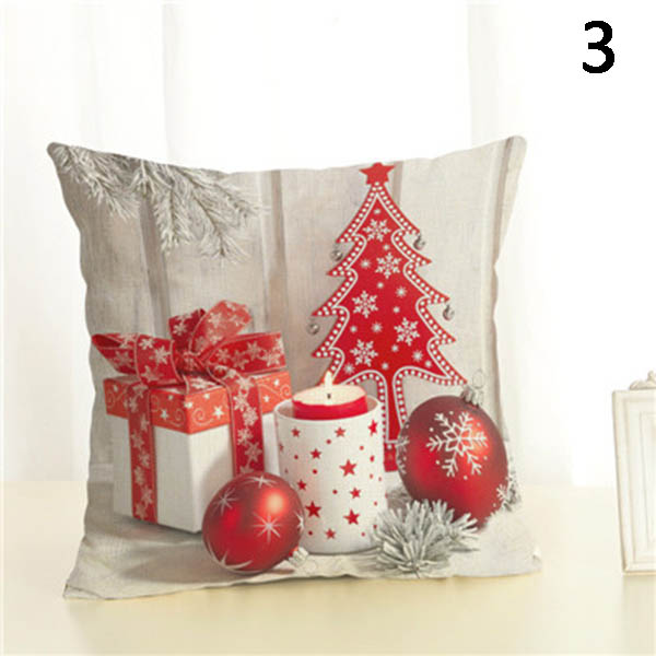 Square Pillow Case Christmas Gift Pattern Pillowcase Christmas Home Decorative 45x45cm E2S